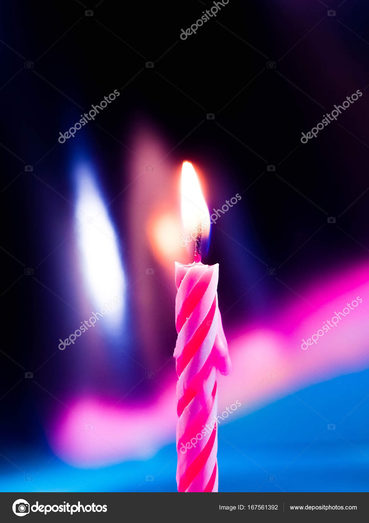 One Single Candle On A Birthday Holiday Blow Out The Smoke From