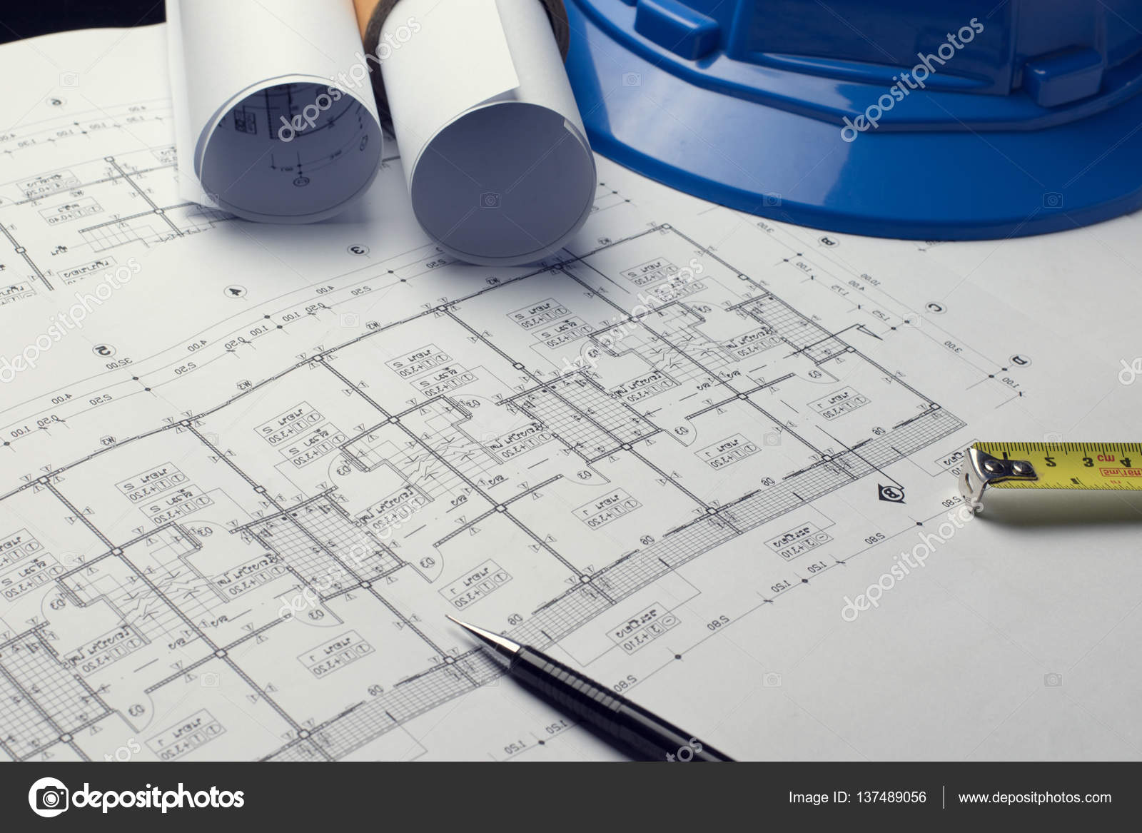 Architectural plans project drawing with blueprints rolls stock architectural plans project drawing with blueprints rolls photo by dfrsce malvernweather Images