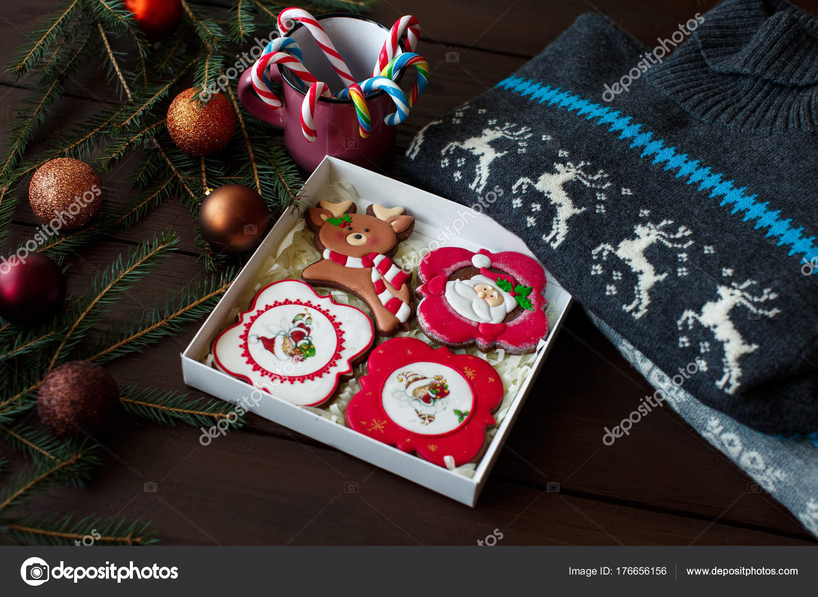 christmas gifts knitted sweaters christmas gift box with gingerbreads and cups of coffee for romantic christmas morning photo by kkshepel