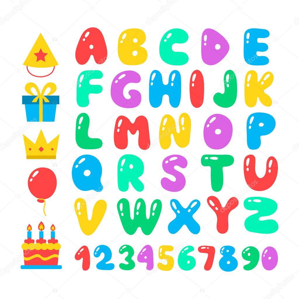 Alfabeto De Dibujos Animados Feliz Cumpleaños Conjunto Letra De