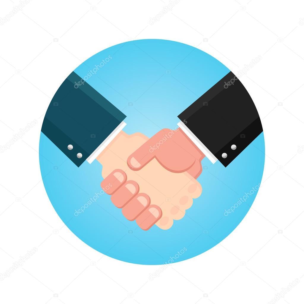 握手ビジネスマン合意。青い振動...