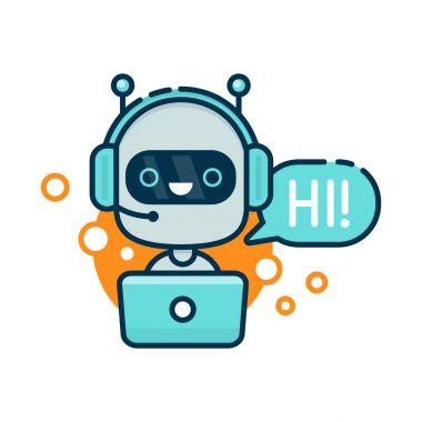 Cute smiling robot, chat bot say hi