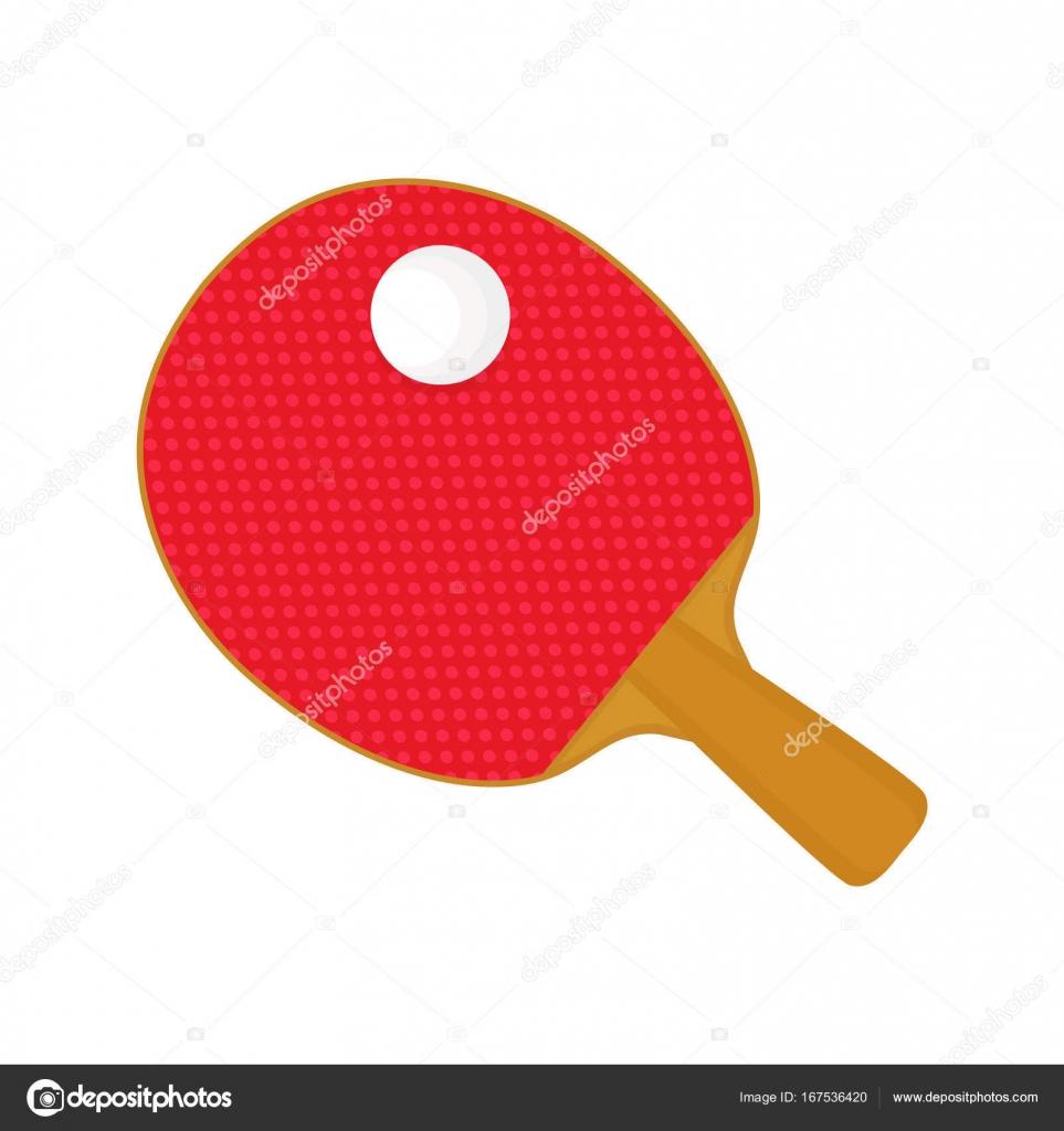 35f134a27 Vermelho de tênis de mesa raquete taco e bola. Vector estilo moderno  desenho ilustração ícone do design. Isolado no fundo branco