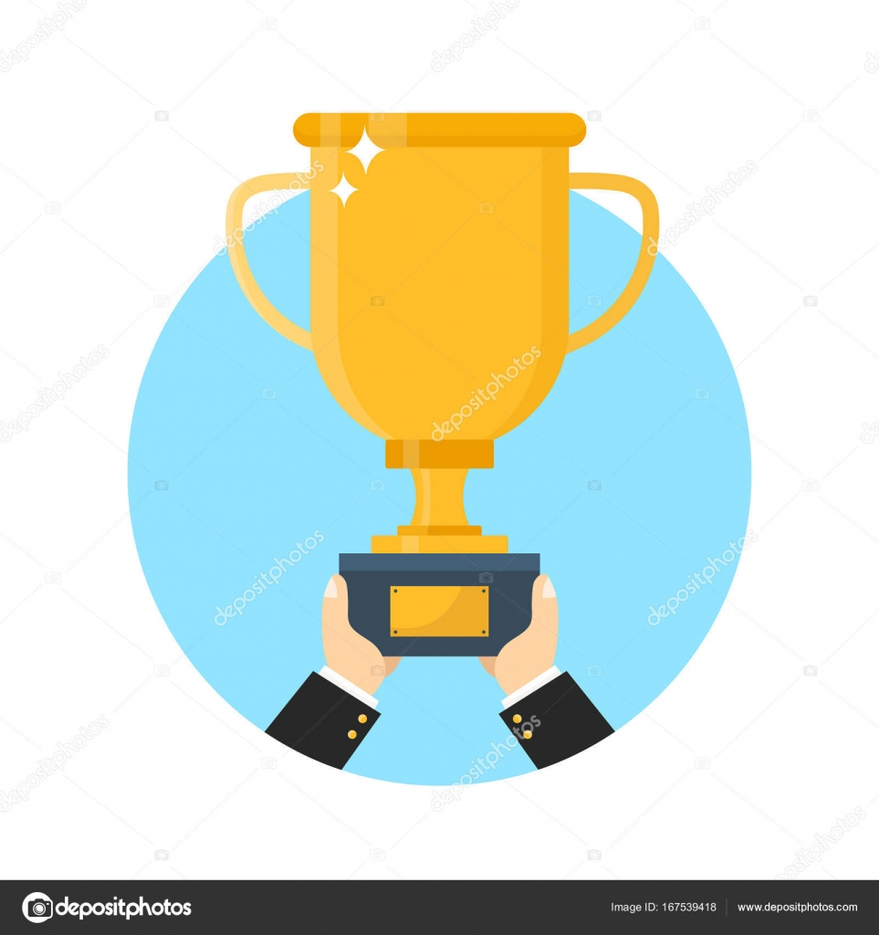 Hand With Gold Trophy Cup Vector Flat Modern Style Illustration Icon Design Isolated On White Background Award Business Concept By Kahovsky