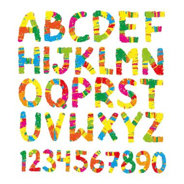 Color pencil font. Hand drawn letters,