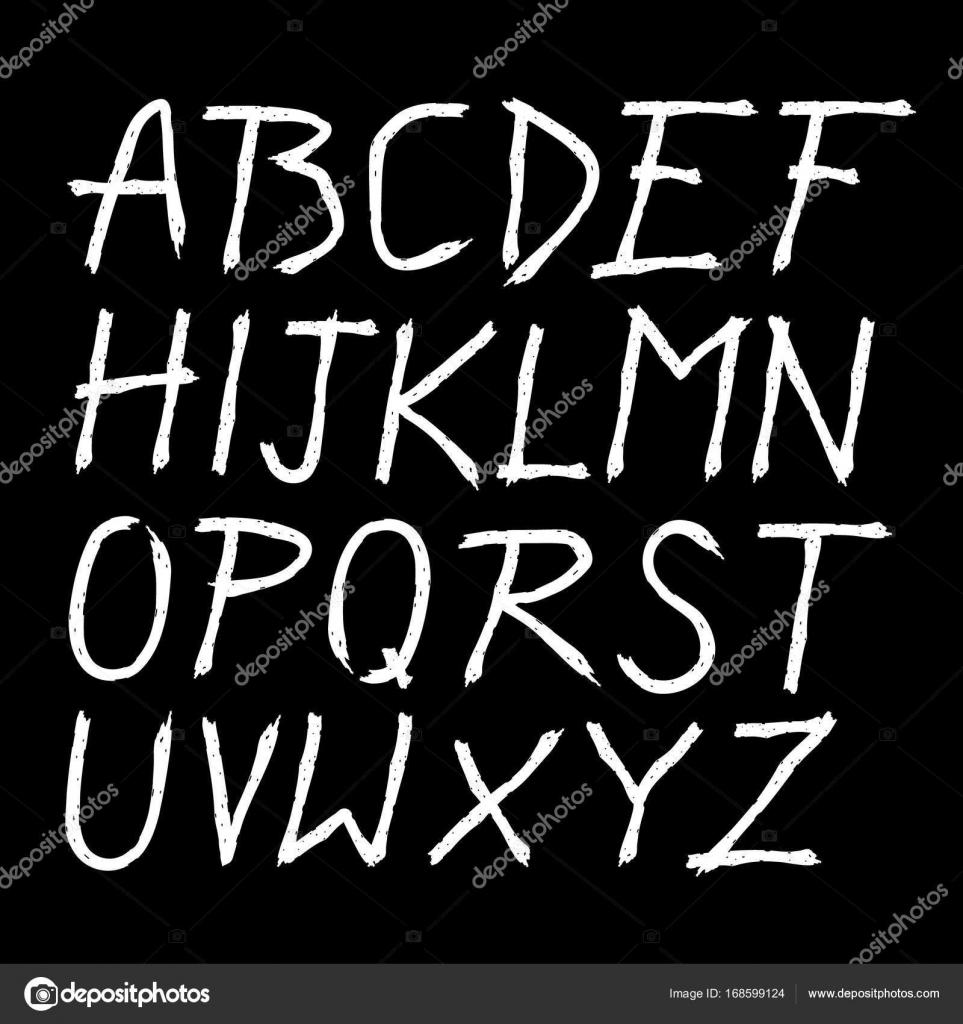 Scratched Doodle Hand Drawn Letters Font векторное