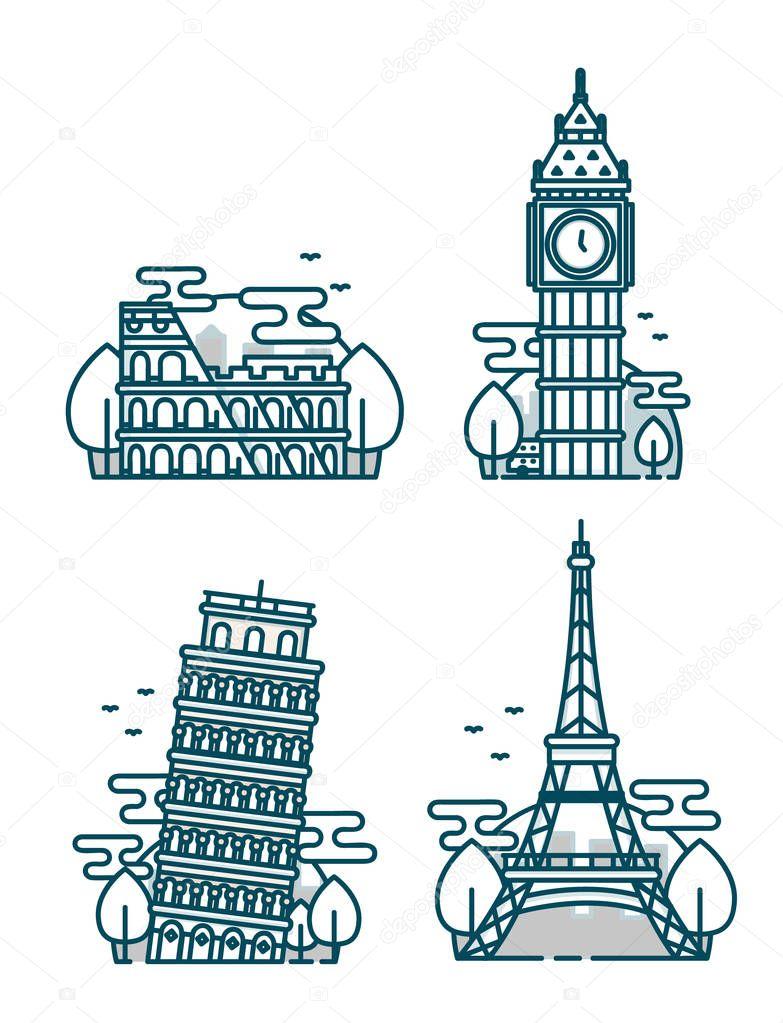 European Attractions.Paris Eiffel Tower