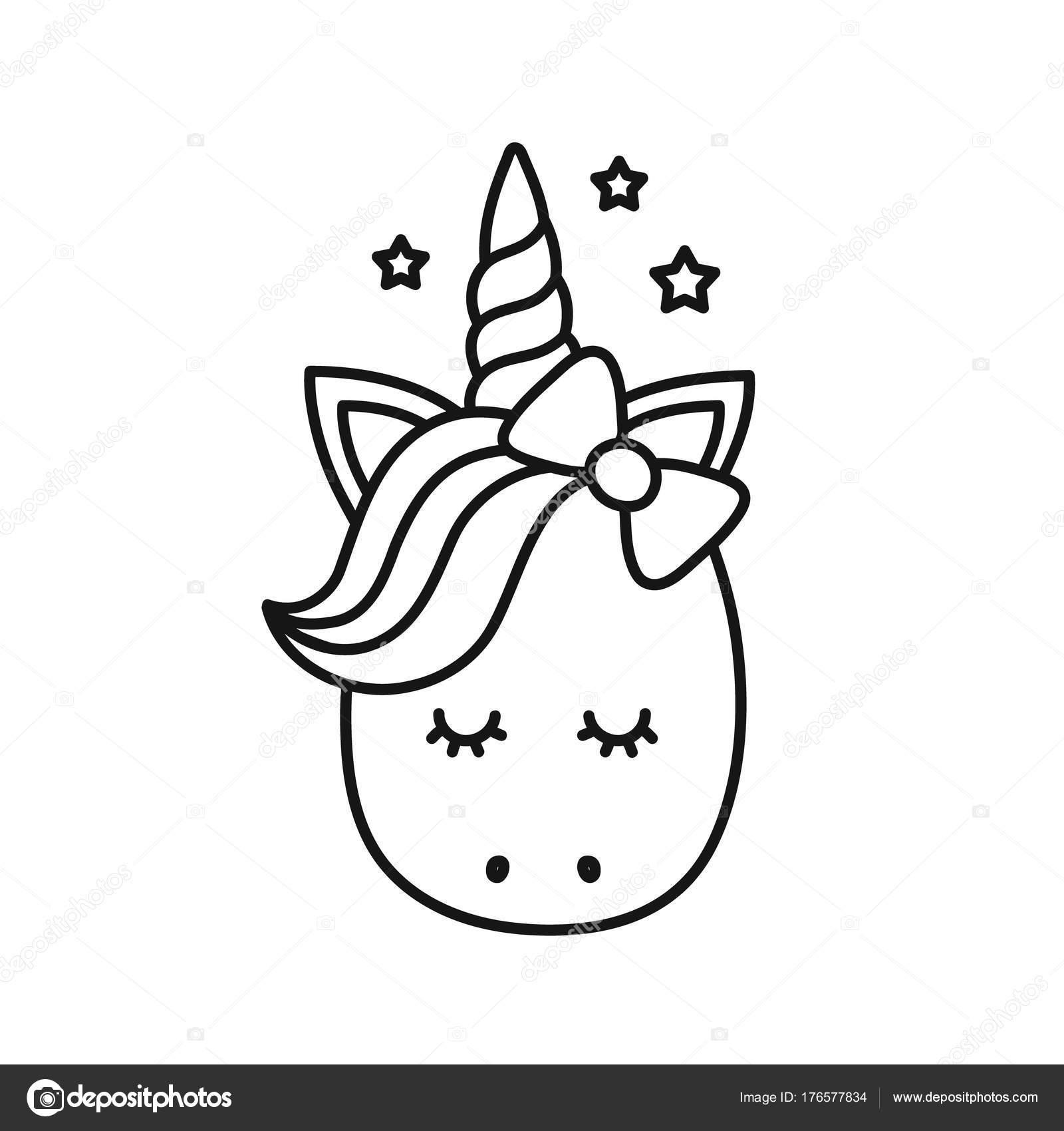 Lindo unicornio. Personaje de dibujos animados de vector — Vector de ...