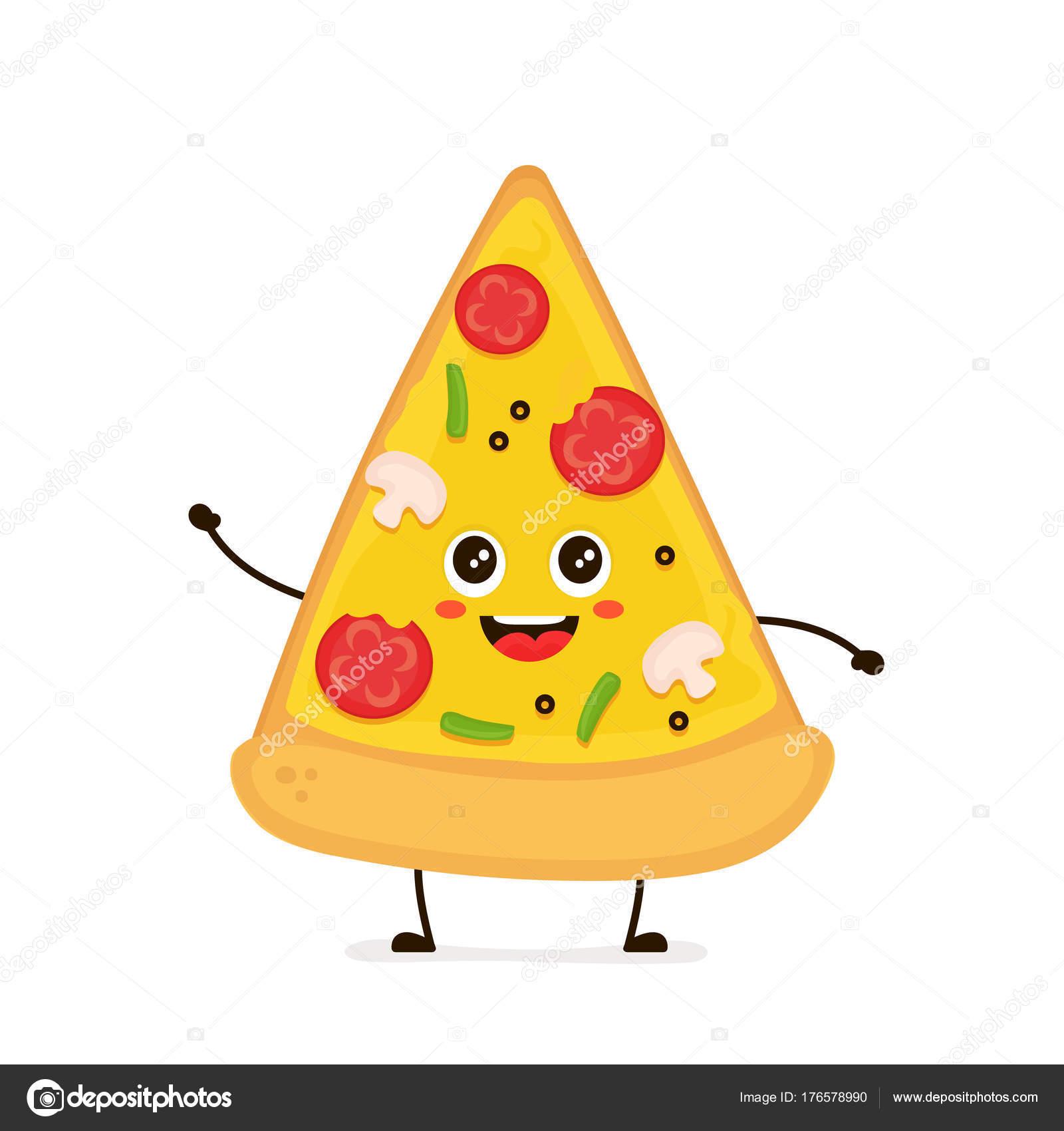 かわいい笑顔の面白いかわいいピザのスライスベクトル ストック