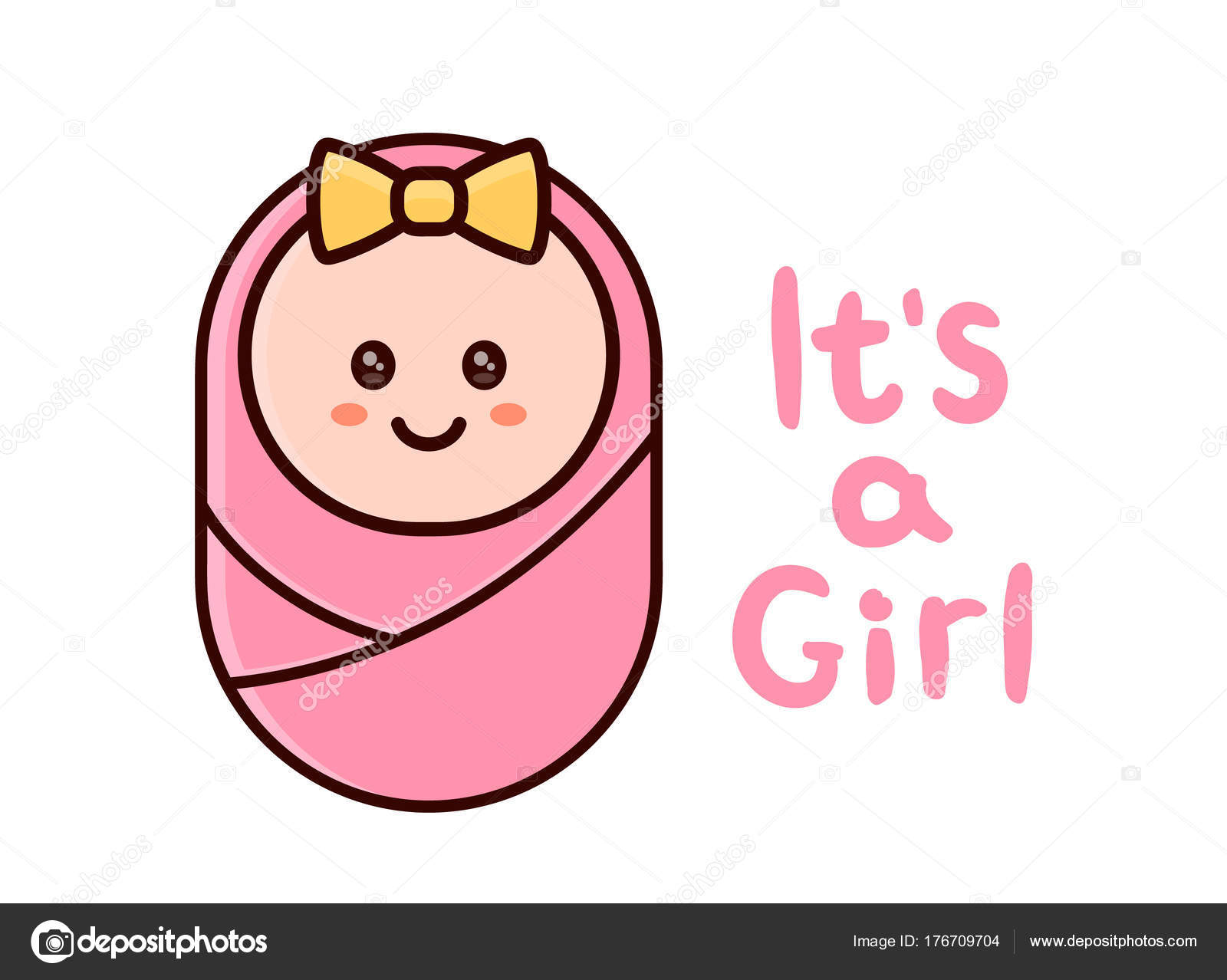 It S A Girl Card Baby Shower Greeting Card Image Vectorielle