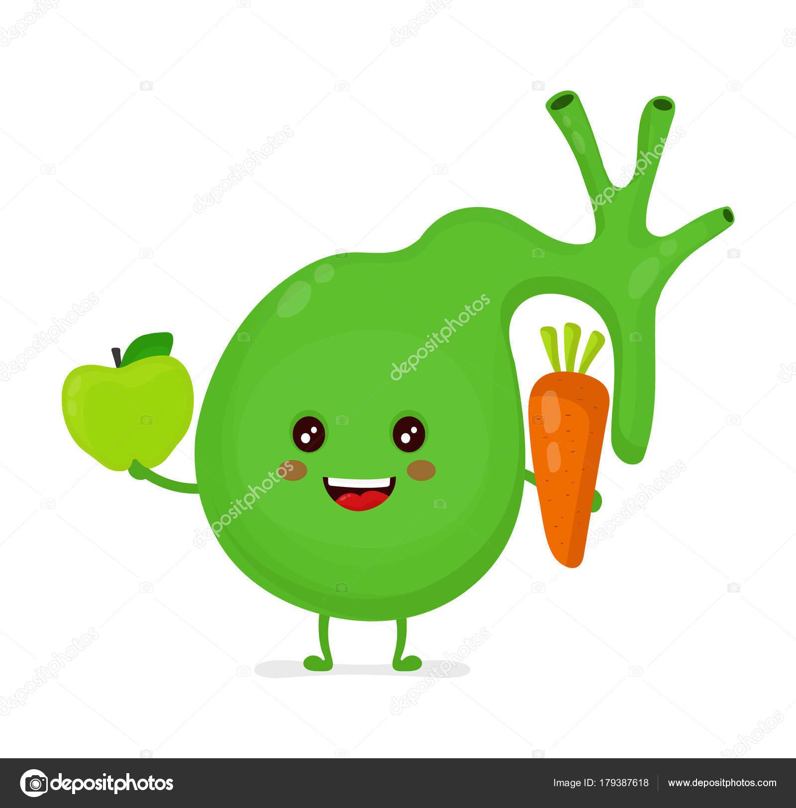 Vesícula biliar feliz sano fuerte con manzana — Archivo Imágenes ...