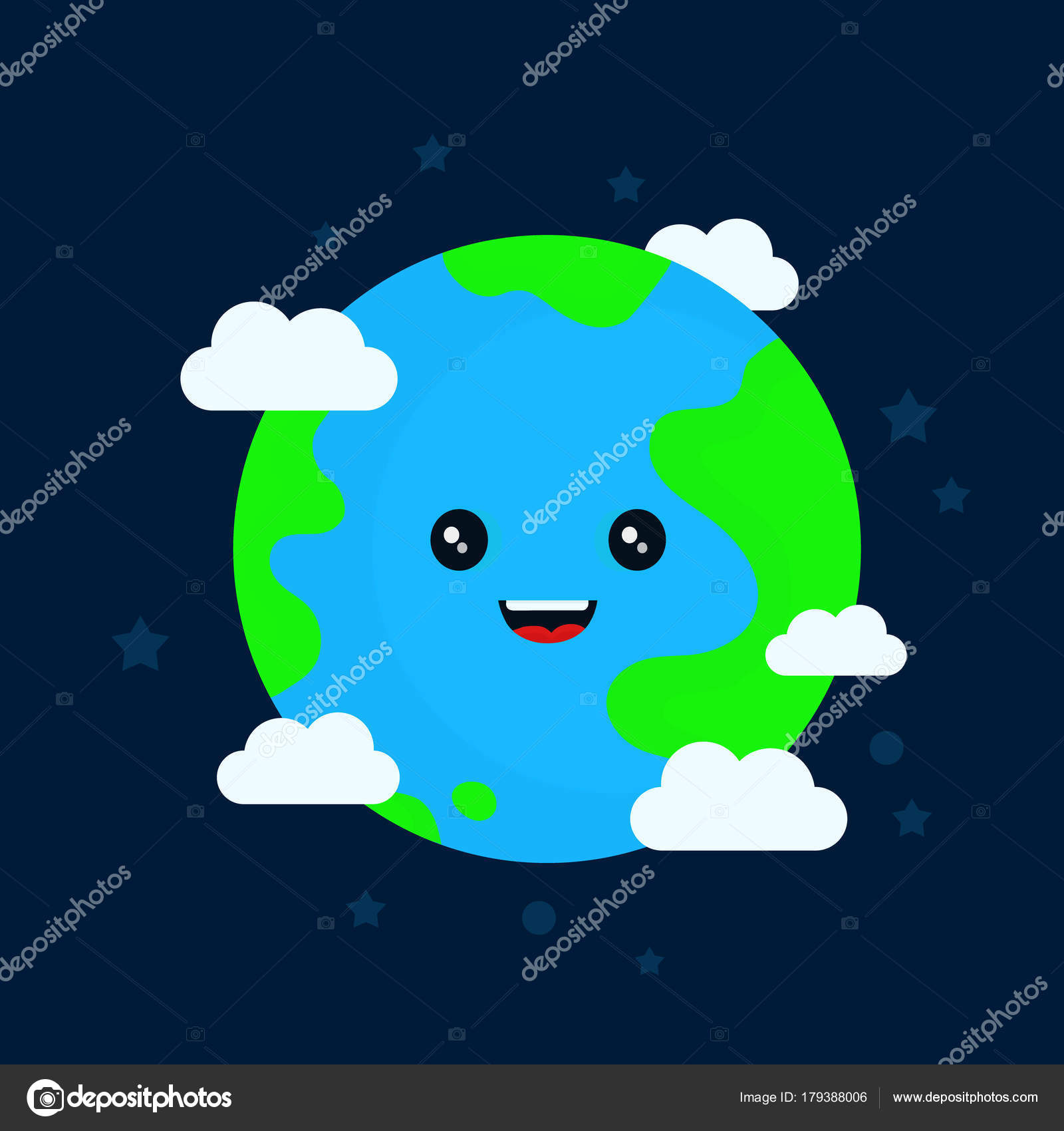 Happy Funny Cute Smiling Earth Character Stock Vector C Kahovsky