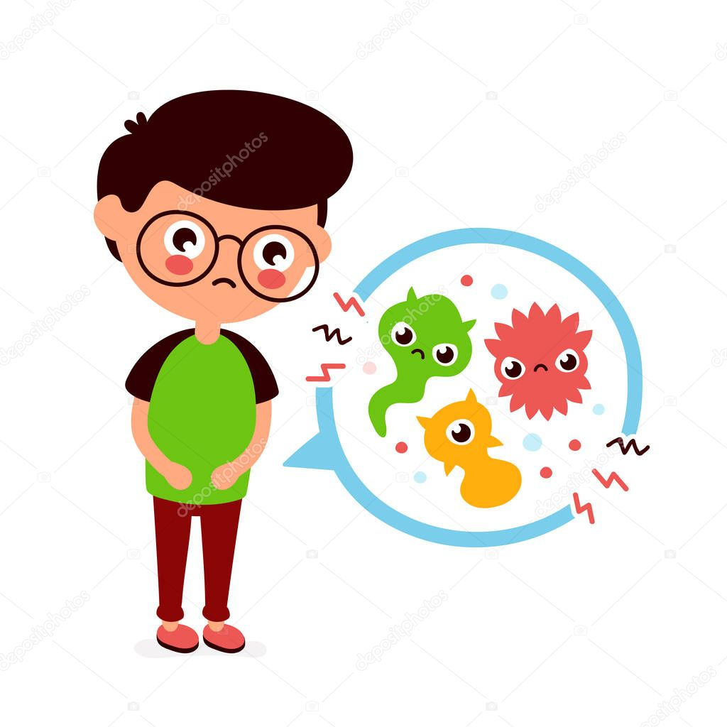 young sick man having stomach ache food poisoning stomach problems abdominal pain vector flat cartoon character illustration medical bacteria germs concept premium vector in adobe illustrator ai ai format encapsulated postscript young sick man having stomach ache
