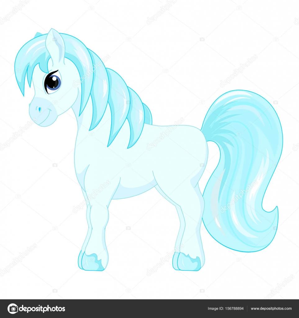 Cute cartoon little blue horse blue hair decorate symbol vector cute cartoon little blue horse blue hair decorate symbol vector illustration stock vector buycottarizona
