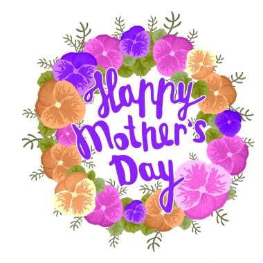 Happy Mother s Day Greeting Card. Black Calligraphy Inscription.