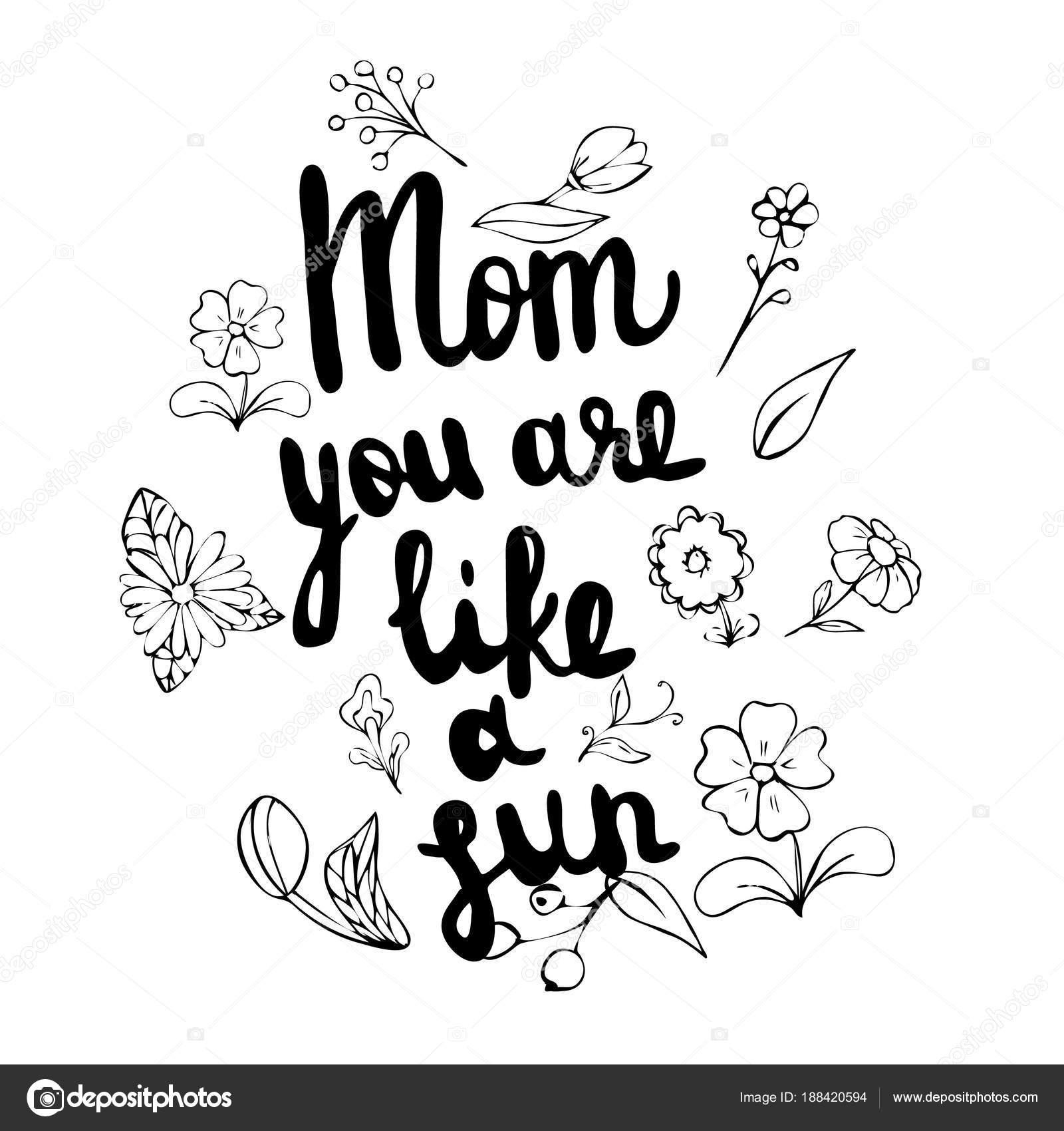 Sol Feliz Para Pintar Feliz Madre Día De S Mano Dibujado