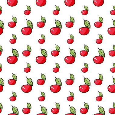 Seamless canvas. Set of cute kawaii cherries. Smiling sweets.