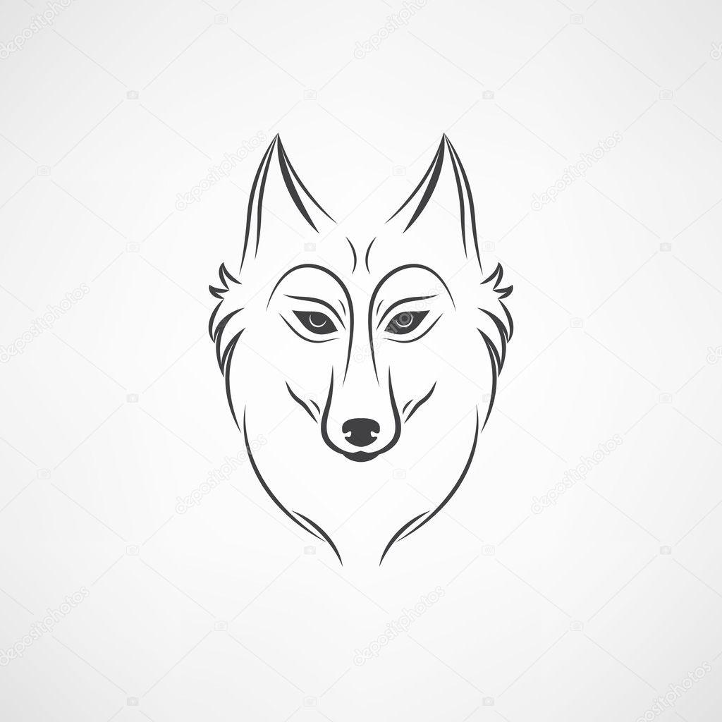 silhueta de lobo emblema de logo de cara vintage lobo vetor de
