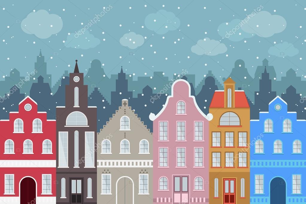 Insieme di edifici di variopinti del fumetto di stile for Casa in stile europeo