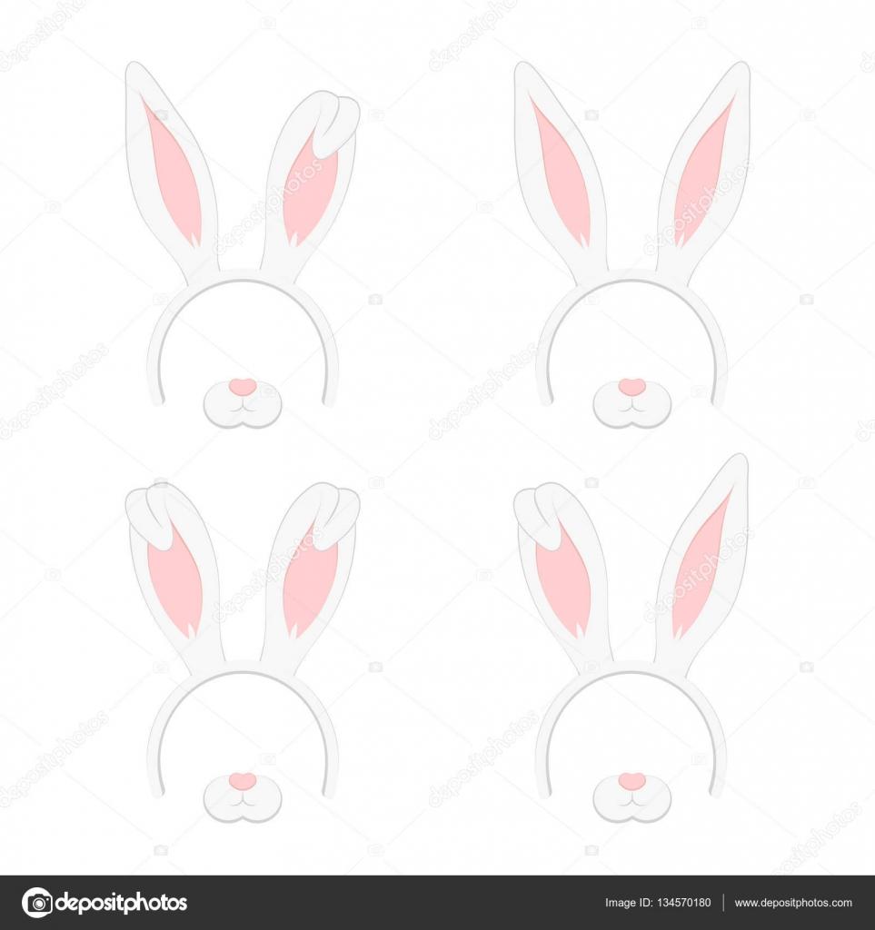 Ensemble de masque de p ques avec des oreilles de lapin - Dessin oreille de lapin ...