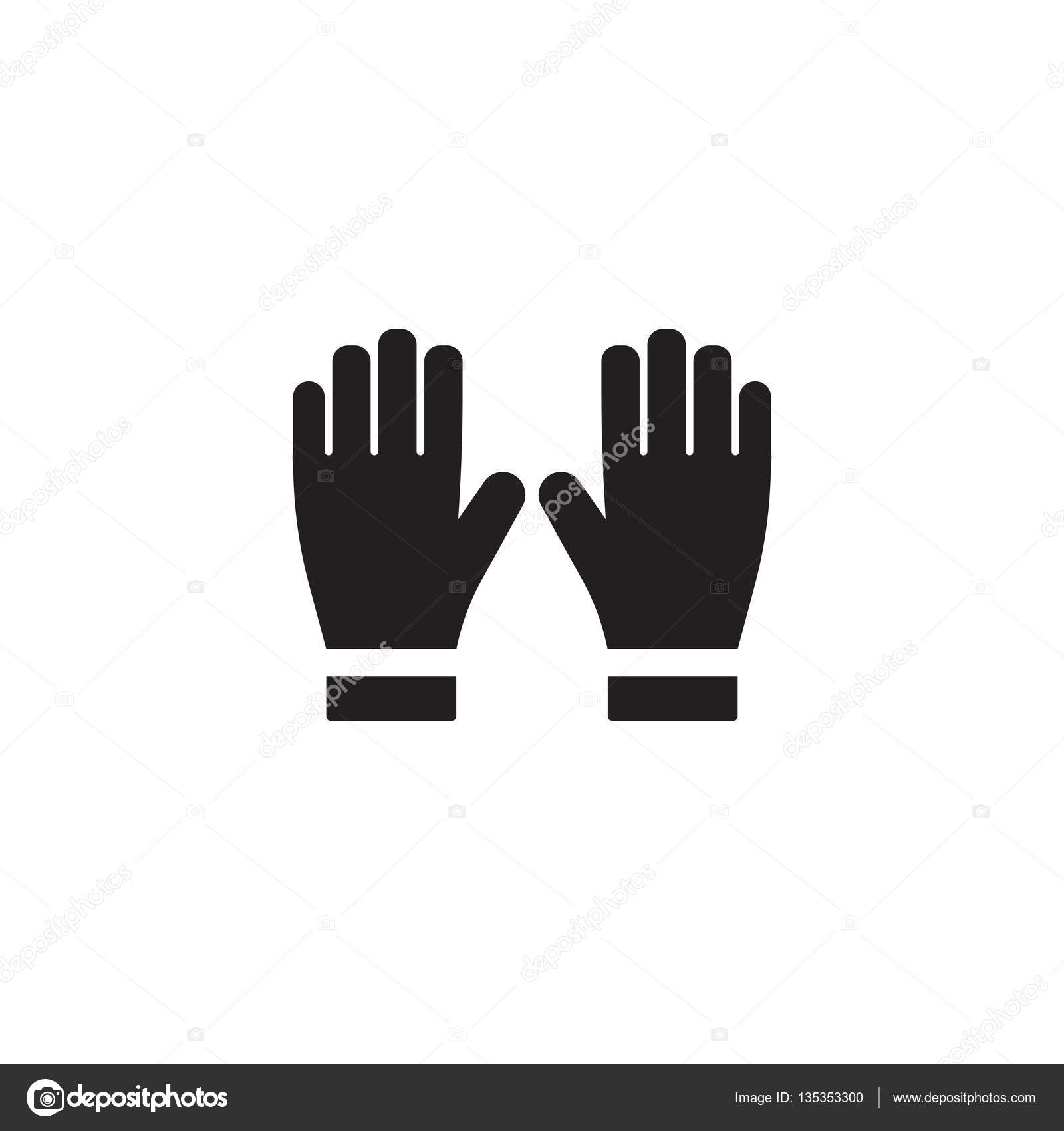 firefighters gloves single silhouette fire equipment icon vector