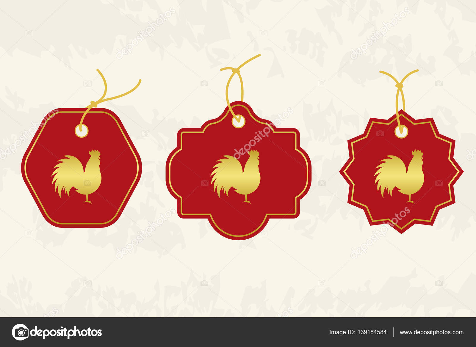 chinese new year symbol of 2017 new year set of tags good for greeting card invitation or banner vector illustration vector by anna_bo - Chinese New Year Sign