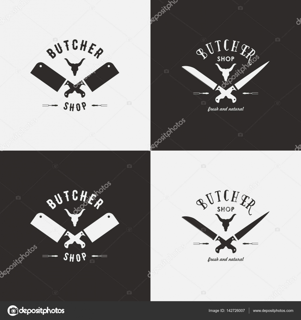 Set of butchery logo templates. Butchery labels with sample text ...