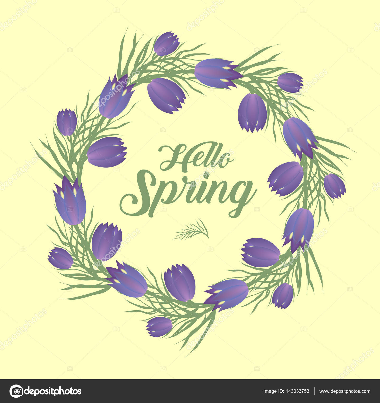 hello spring floral frame for text isolated on white background