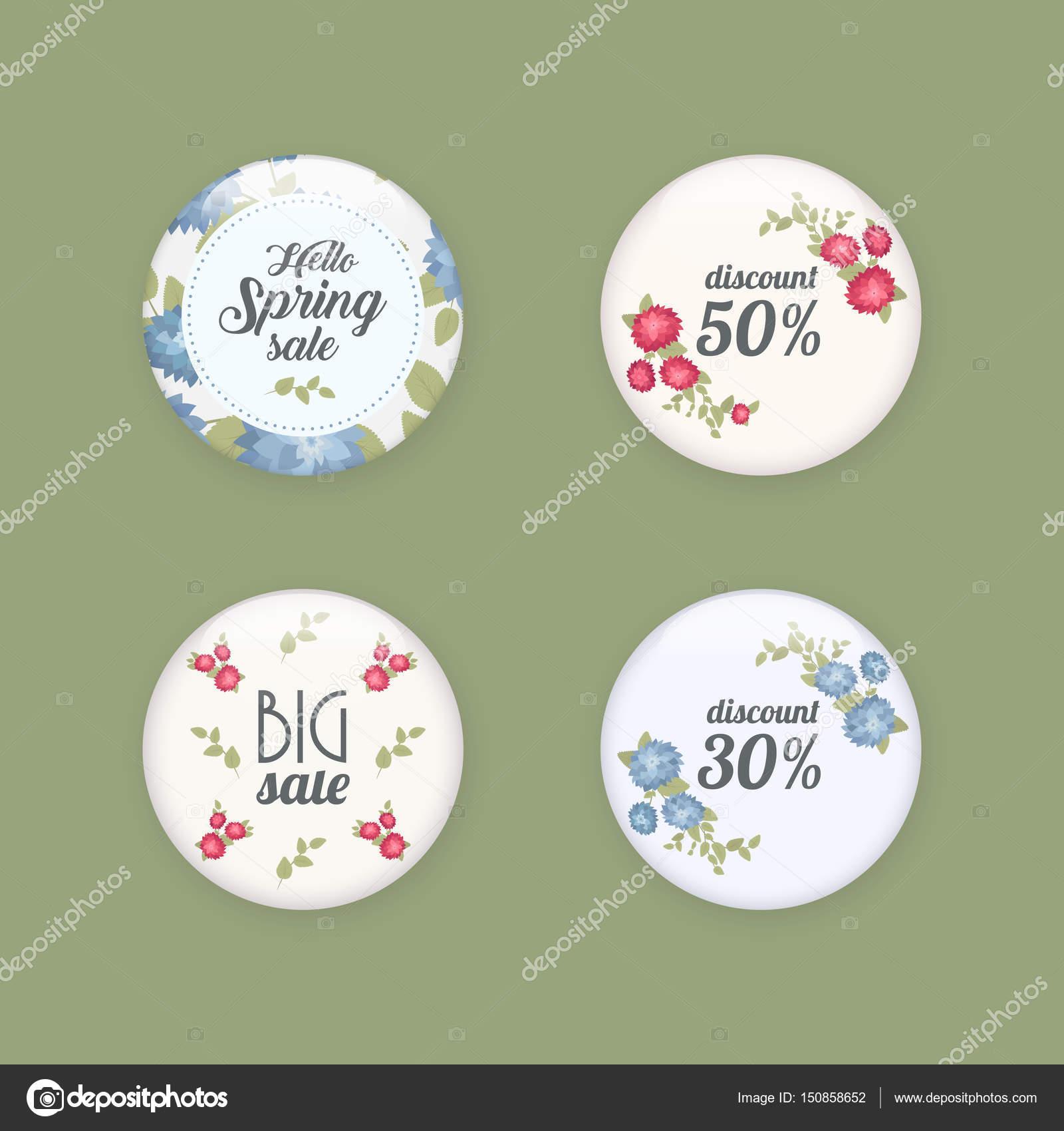 Conjunto de botones de venta brillante o insignias. Promociones de ...