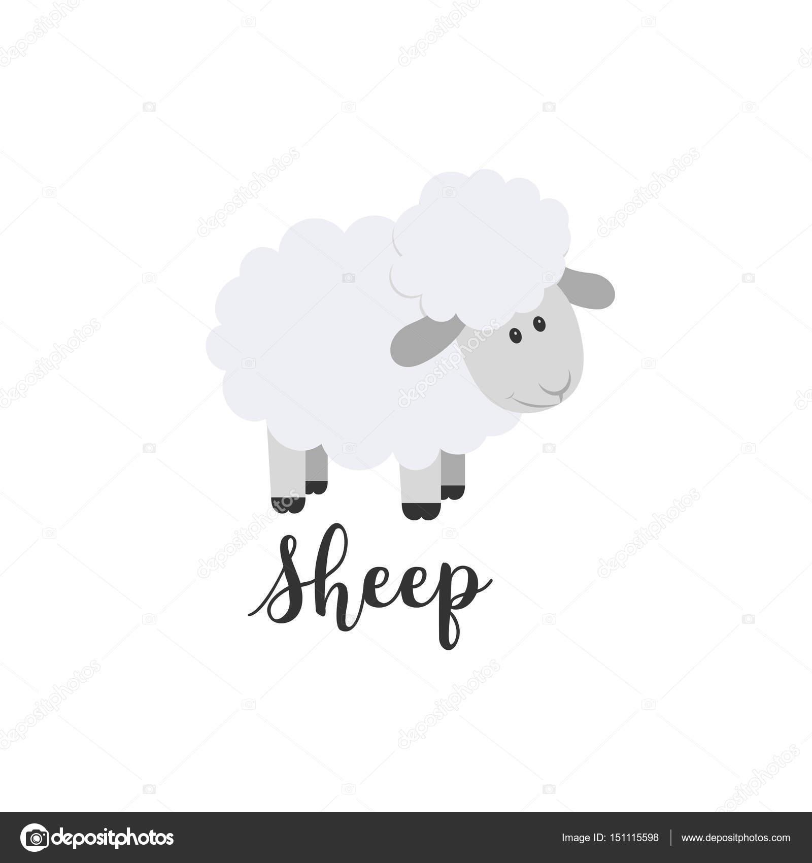 Icono De Vector De Color Plano Con Animal Lindo Para Bebes Ovejas