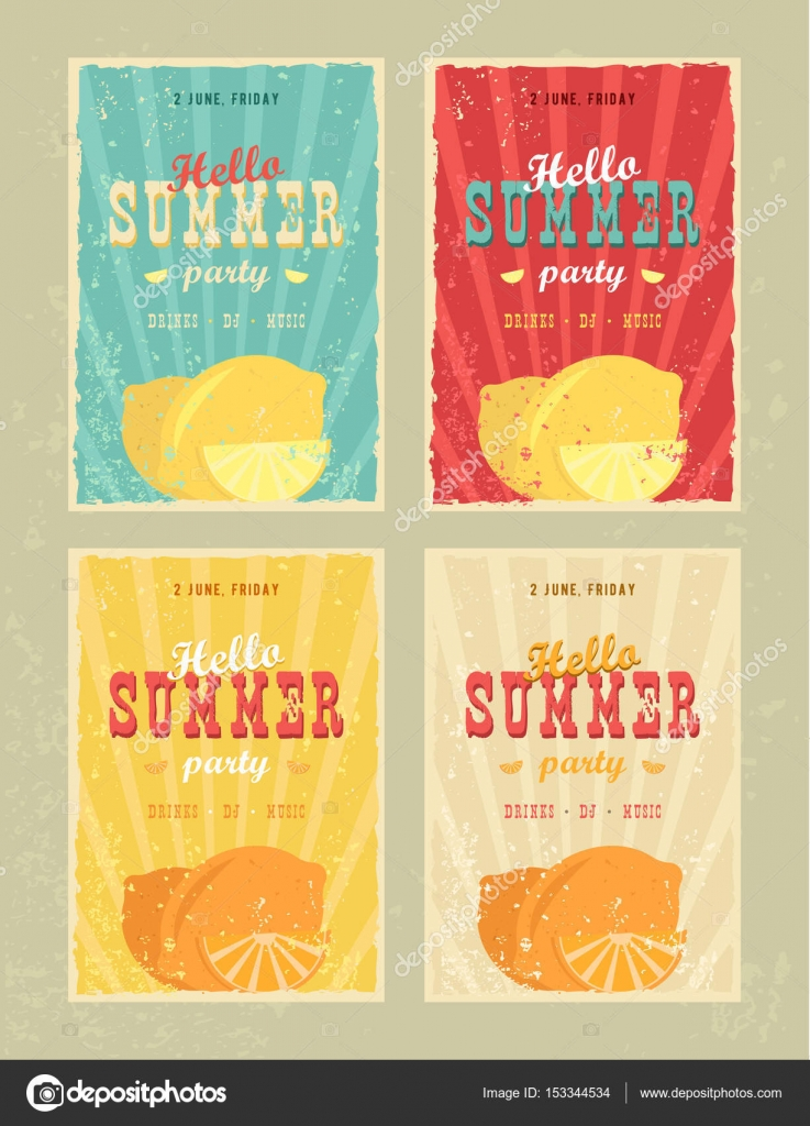 Set Of Retro Summer Holiday Posters Travel And Vacation Vintage Signs Collection