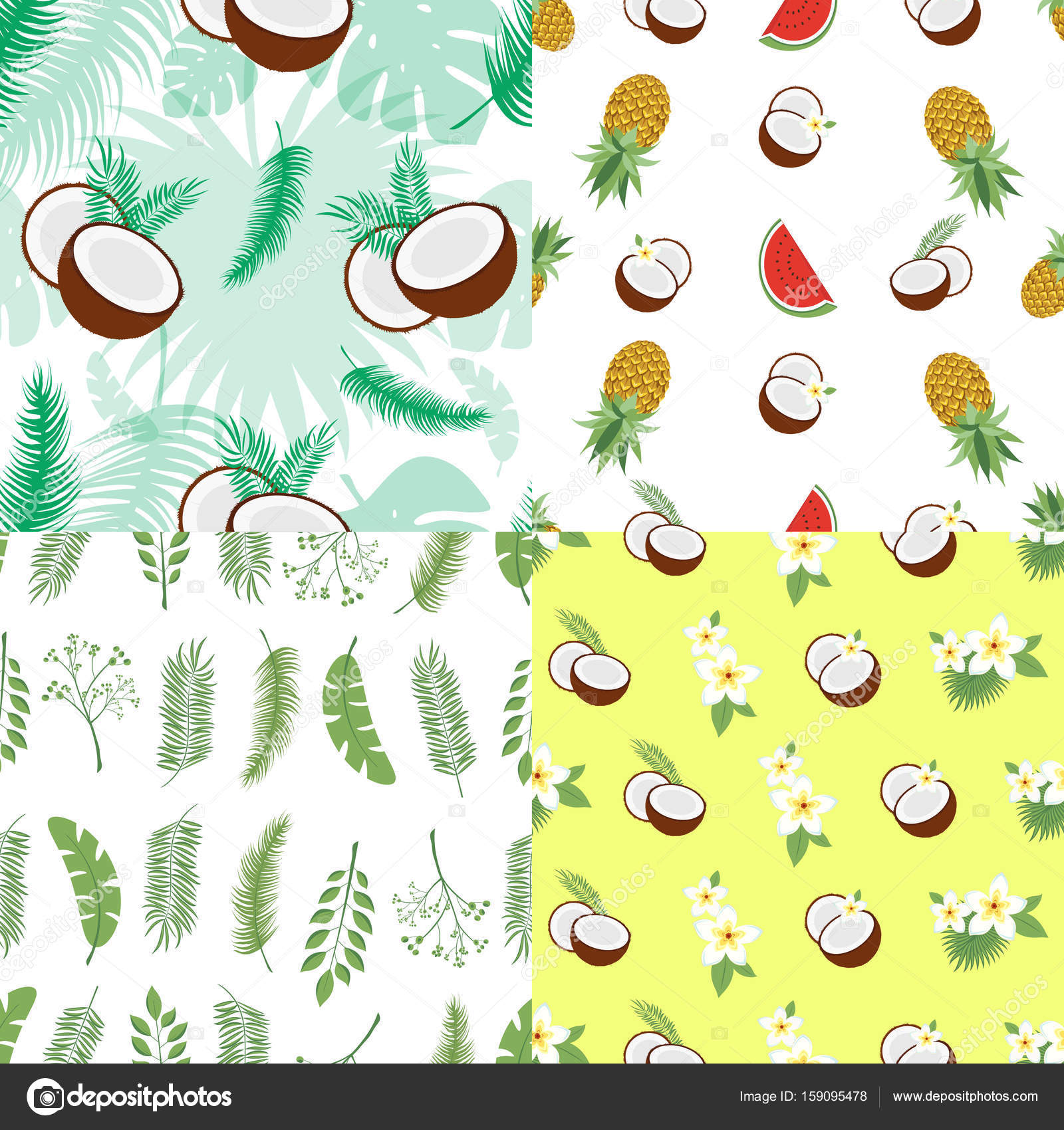 set of seamless summer patterns backgrounds with leaves of a palm