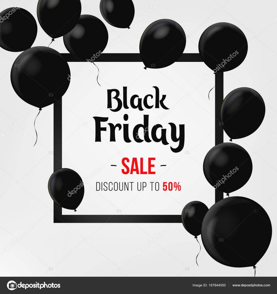 Cartel de venta viernes negro con globos brillantes sobre fondo ...