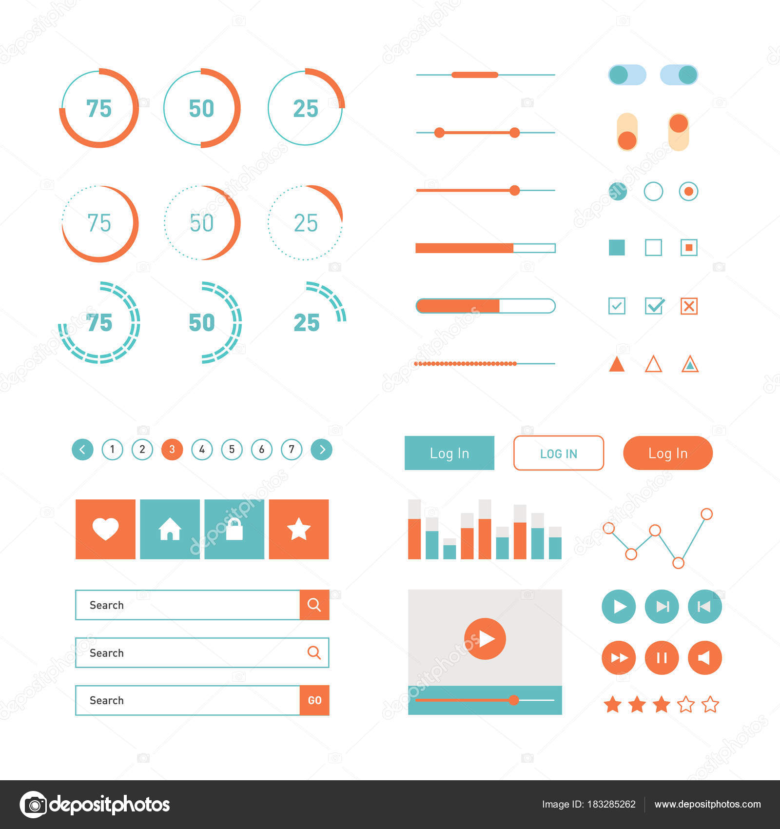Moderne Benutzeroberfläche flaches Design Vektor Kit in Trendfarbe ...