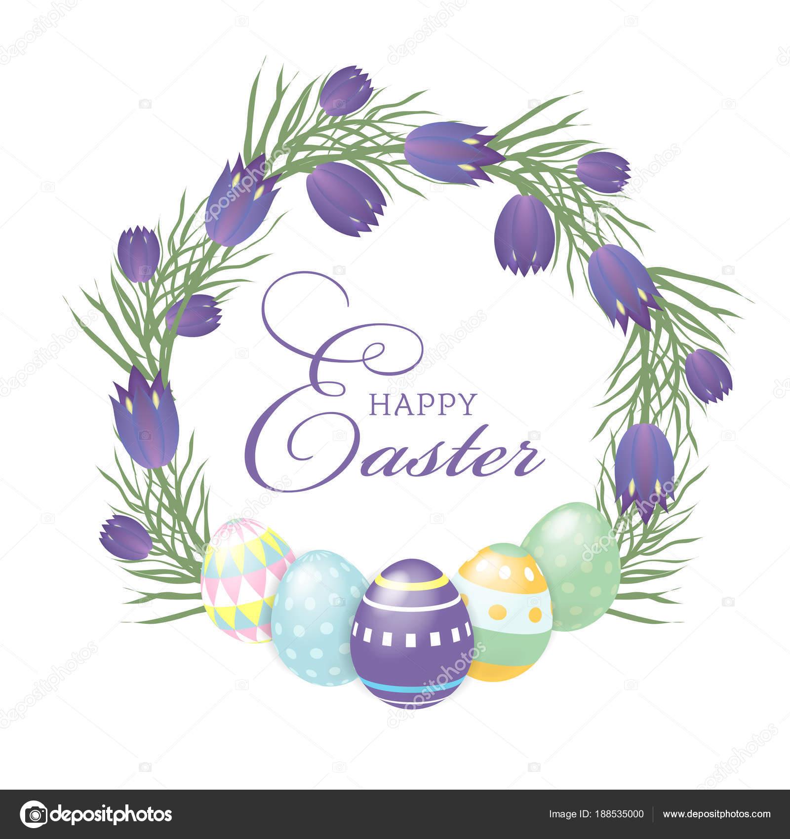Feliz Pascua fondo la plantilla con flores y huevos. Feliz Pascua ...