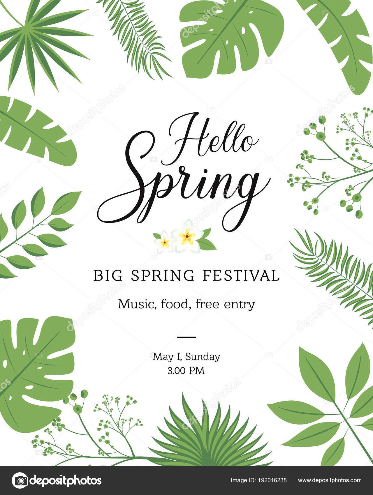 Hello Spring Festive Banner With Springtime Season Flower Floral