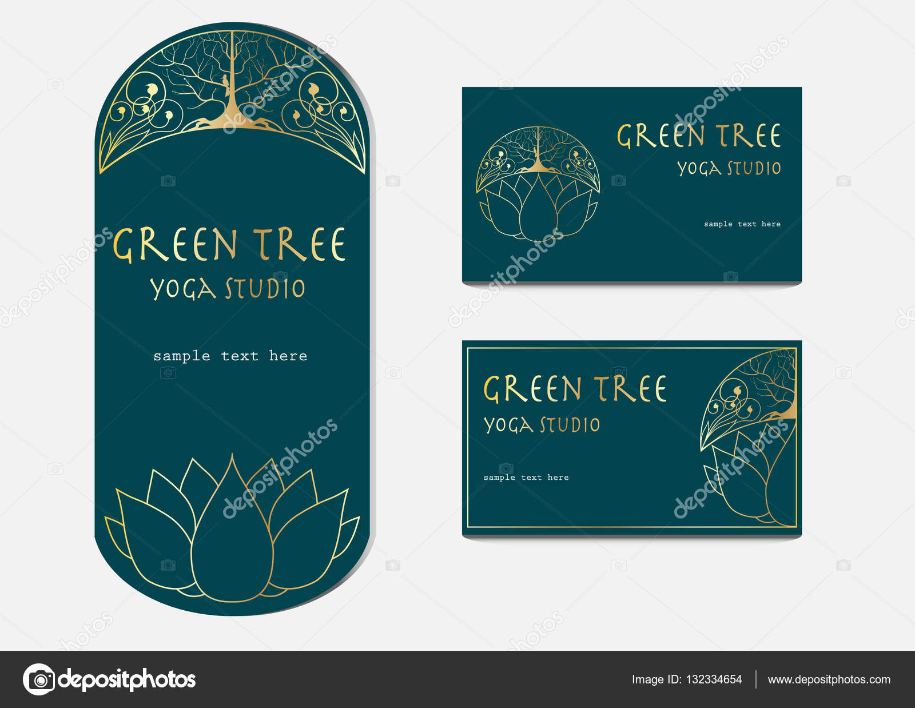 Yoga Studio Flyer und Visitenkarten-Vorlagen mit Lotusblüte ...