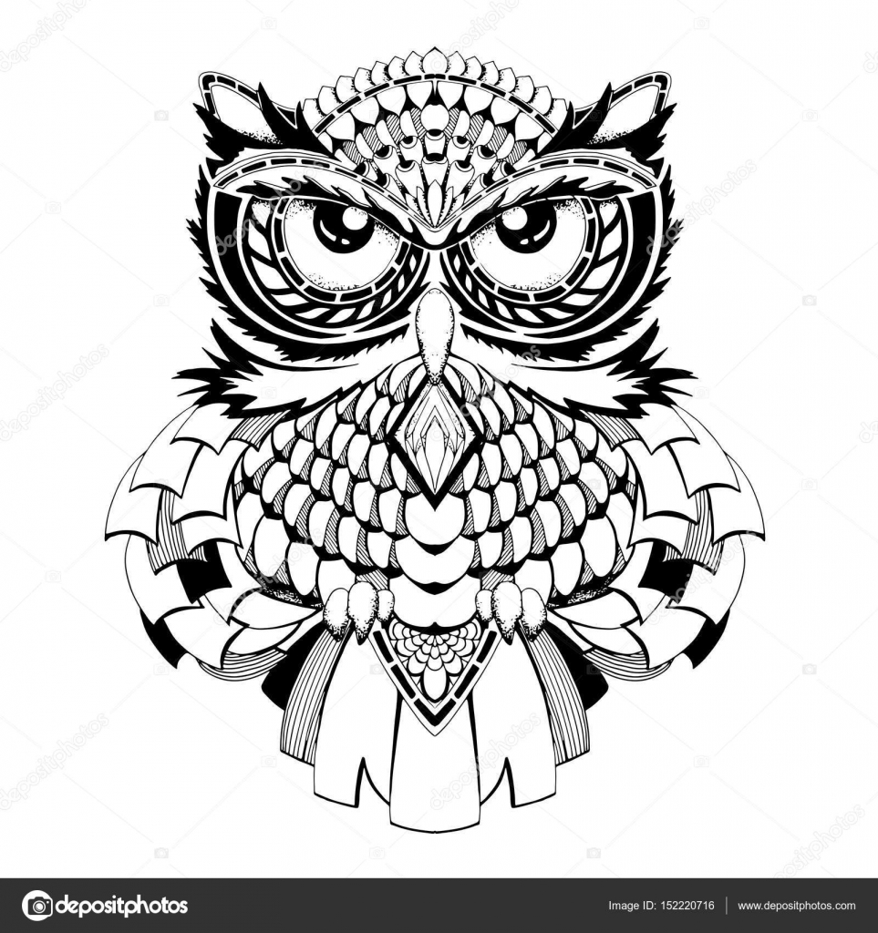 Black And White Owl Vector Sketch Stock Vector Scorpionce 152220716