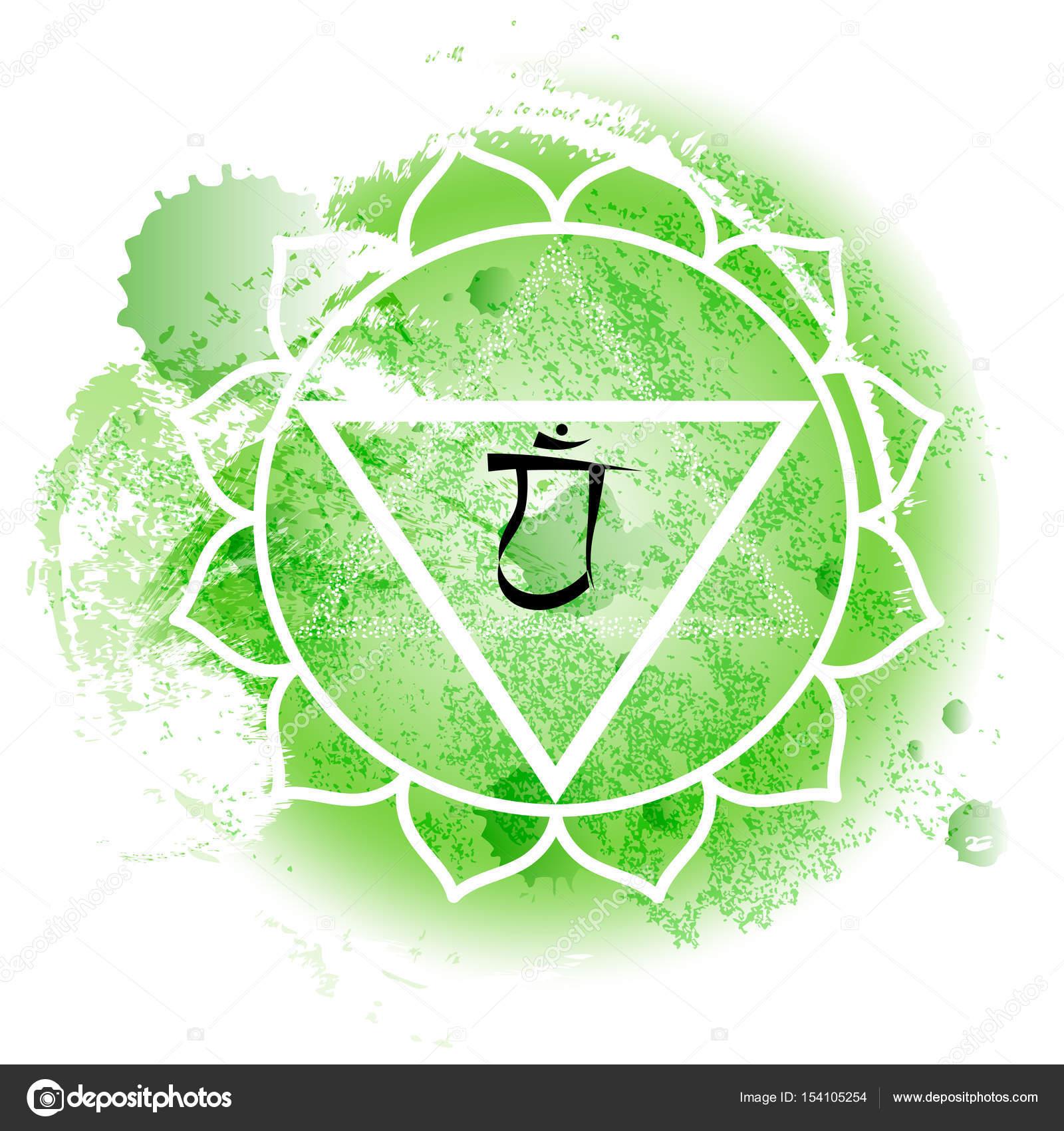 cuarto chakra anahata en fondo verde acuarela — Vector de stock ...
