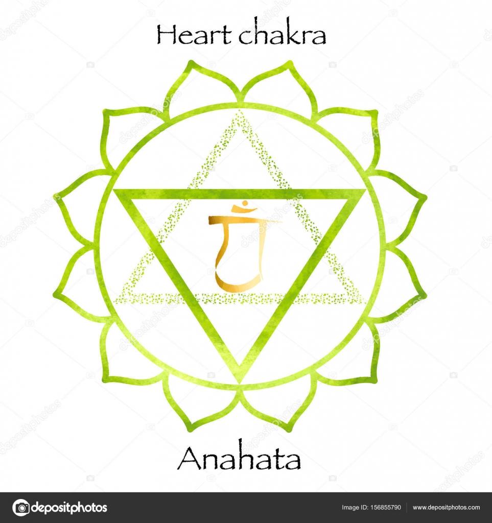 cuarto chakra anahata en fondo verde acuarela — Archivo Imágenes ...
