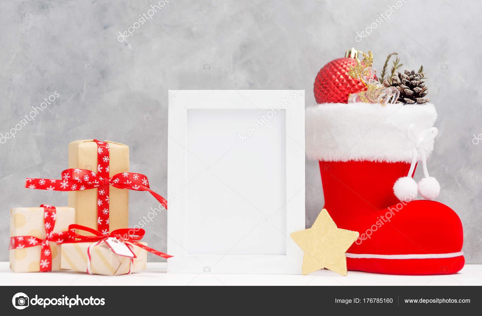 Mock Mit Fotorahmen Helle Weihnachten Festliche Geschenk Boxen ...
