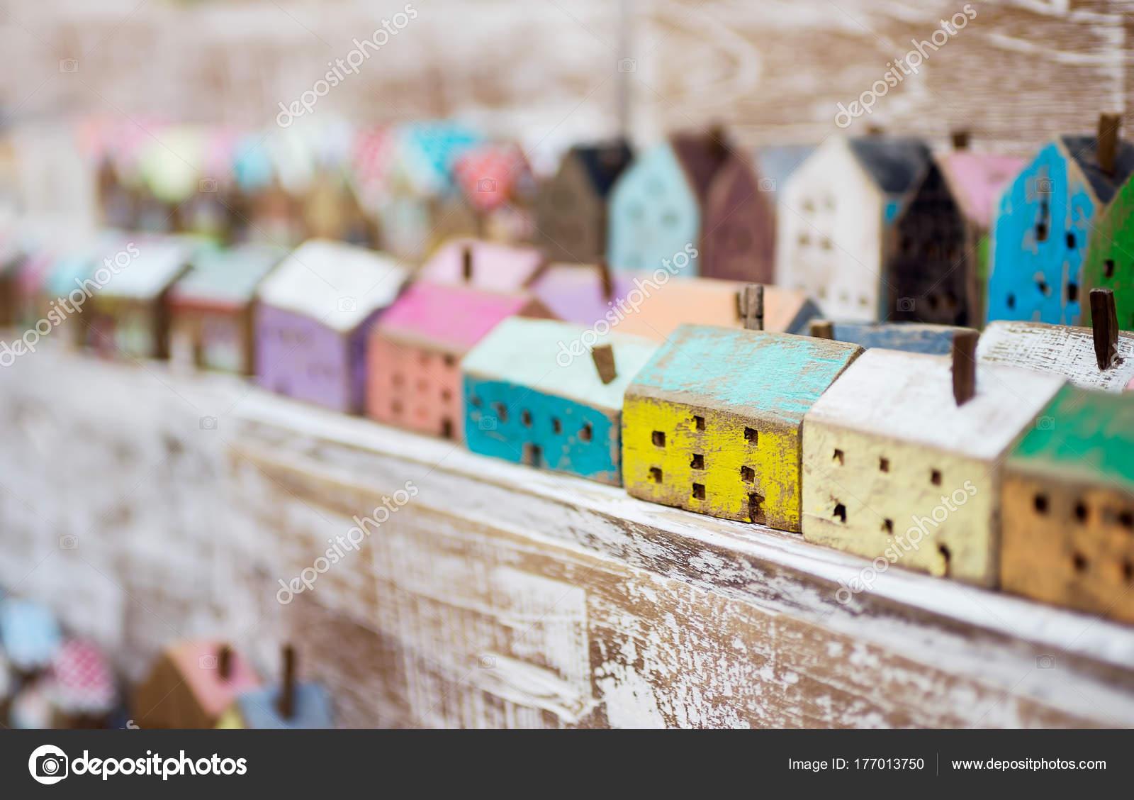 Small Handmade Wooden Houses Row Store Shelf Craft Home Decor