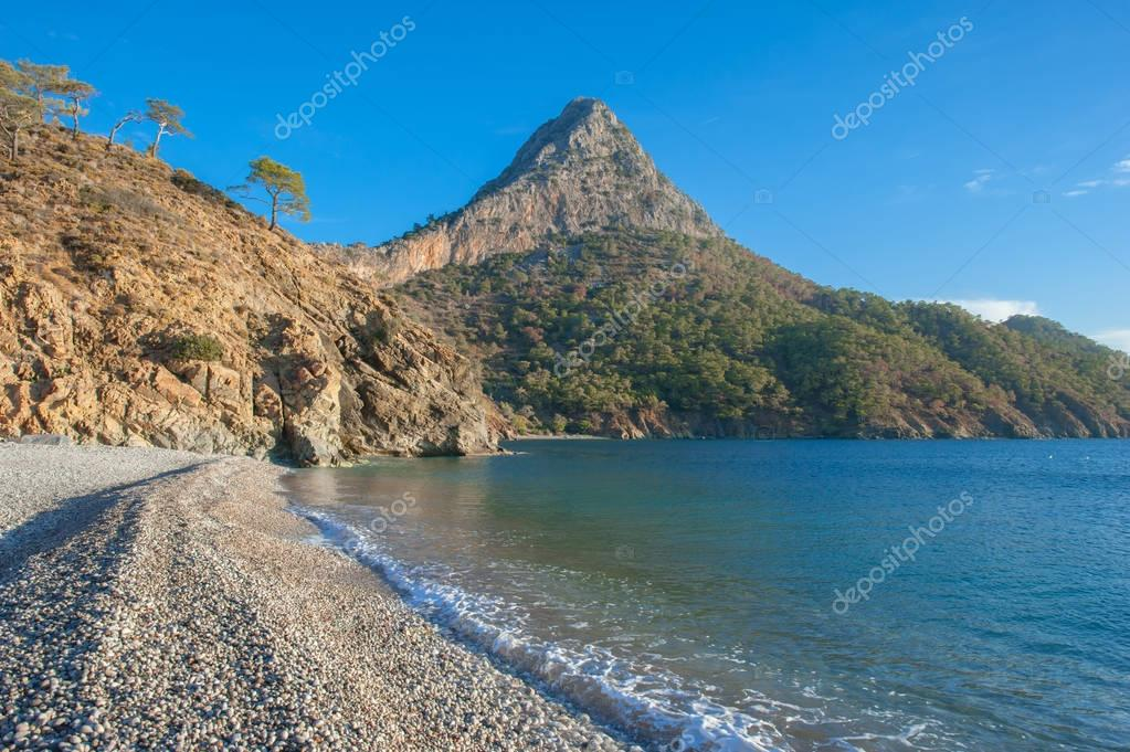Beautiful beach with mountain views