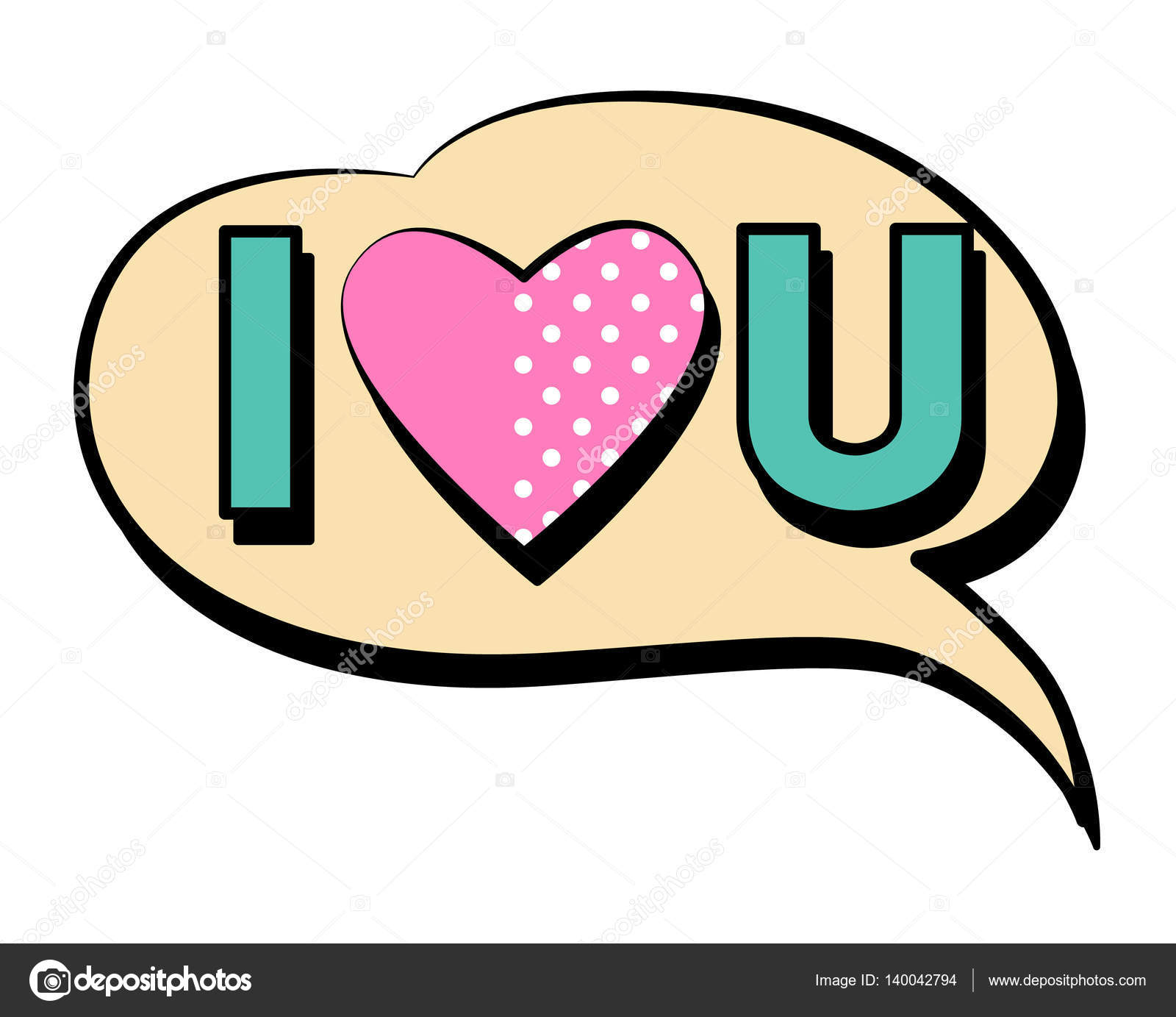 i love you speech bubble in retro style stock vector