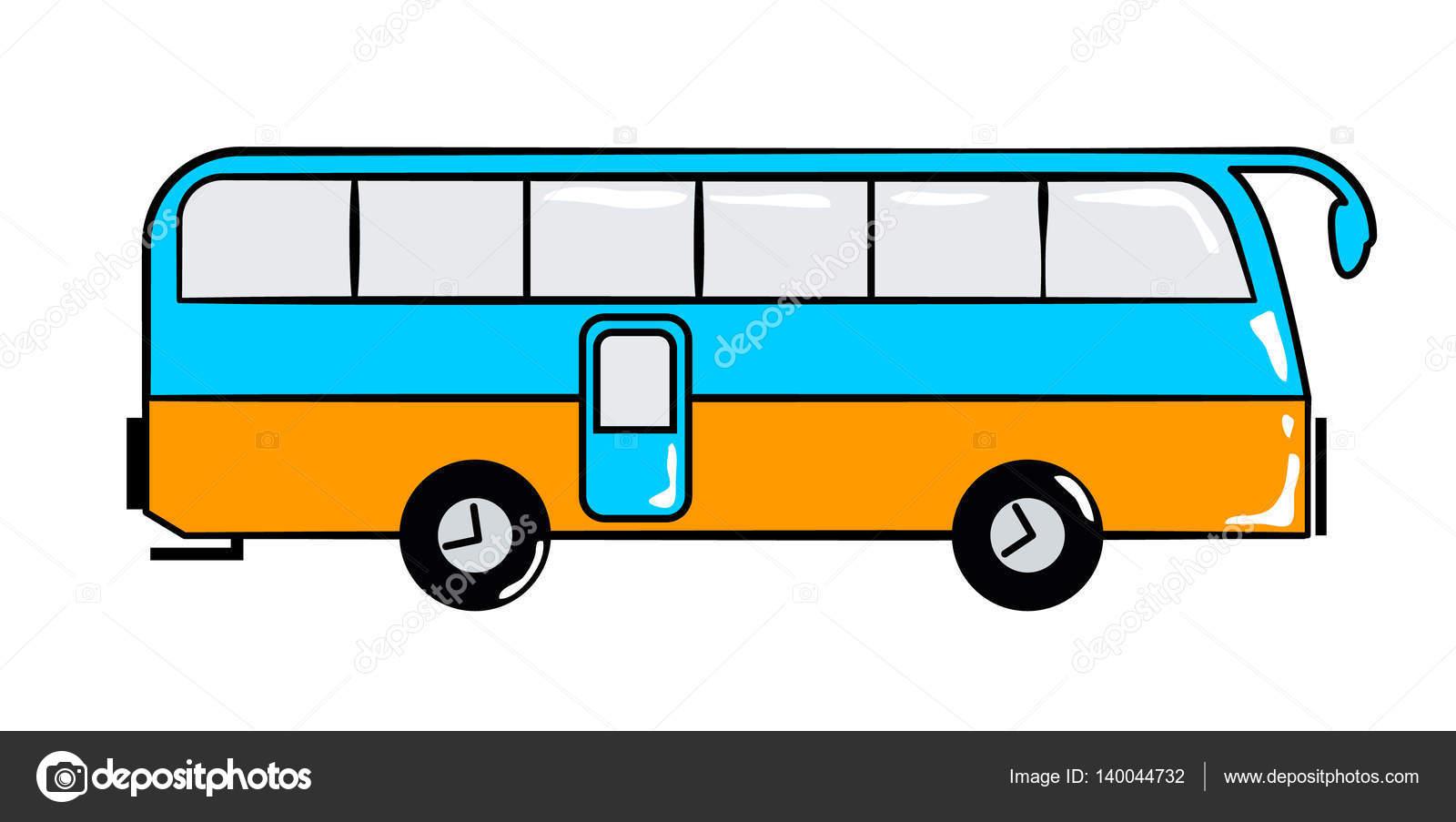 Autobus Cestovni Kresleny Nalepka V Retro Stylu Stock Vektor