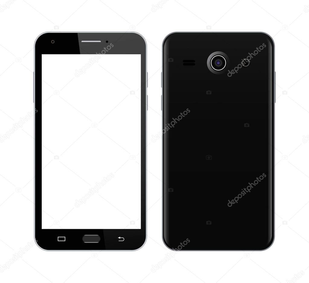 Schwarz Smartphone vor und Rückseite — Stockvektor © ArtRoseStudio ...