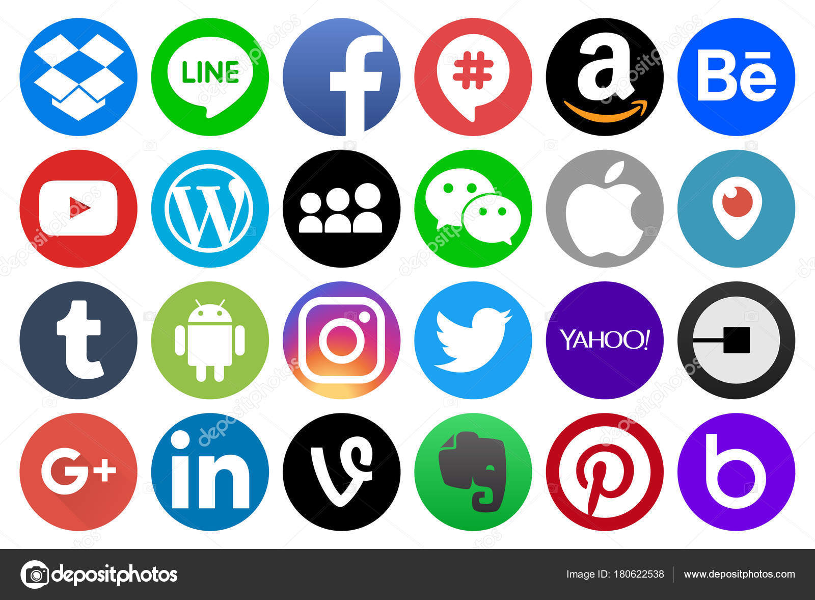 Different Circle Popular Social Media Other Icons Linkedin Blogger