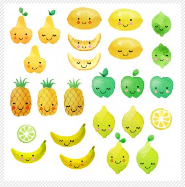 Set of hand drawn watercolor fruits