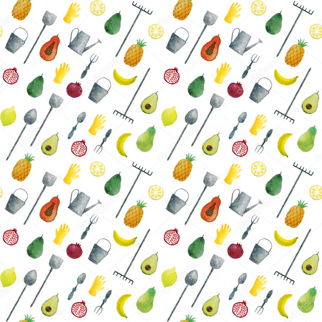 Seamless pattern hand drawn watercolor fruits and garden tools
