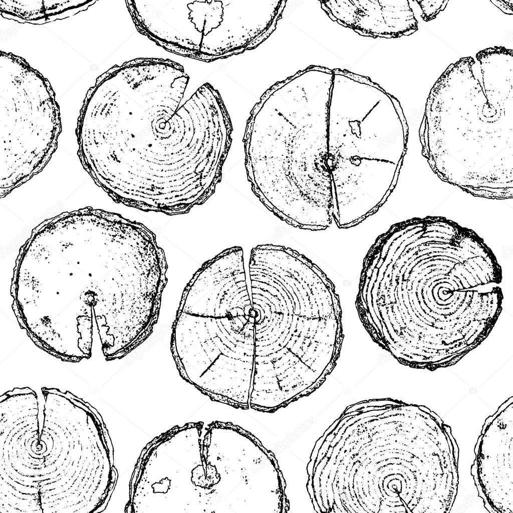 Vector hand drawn wood seamless pattern isolated on white backdr